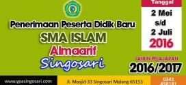 PPDB SMA Islam Almaarif Singosari 2016/2017