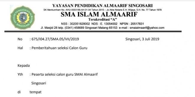Informasi dan Hasil Seleksi Tahap 1 Calon Guru SMA Islam Almaarif Singosari